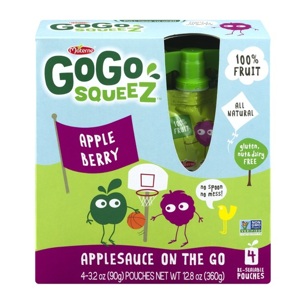 GoGo Squeez Apple Berry Applesauce On The Go Pouches