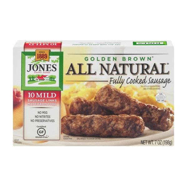 Jones Dairy Farm Golden Brown All Natural Fully Cooked Mild Sausage Links