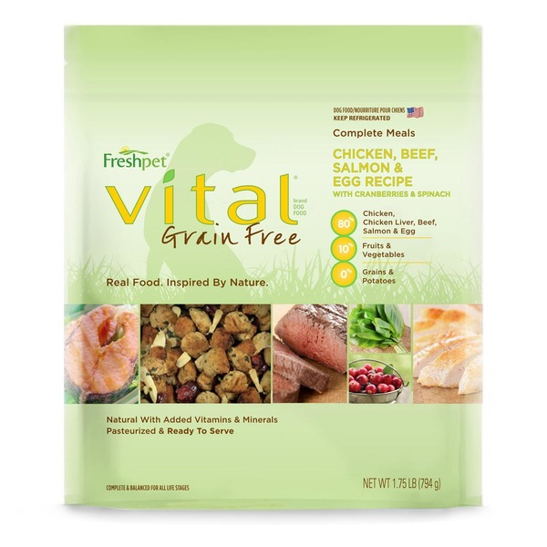 Freshpet Vital Grain Free Complete Meals Chicken, Beef, Salmon & Egg Recipe With Cranberries & Spinach Dog Food