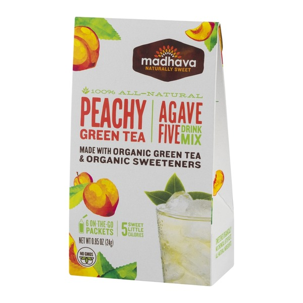 Madhava Agave Five Drink Mix Peachy Green Tea - 6 CT