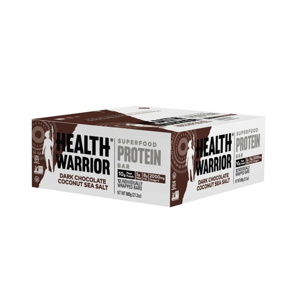 Health Warrior Superfood Protein Bar Dark Chocolate Coconut Sea Salt - 12 CT