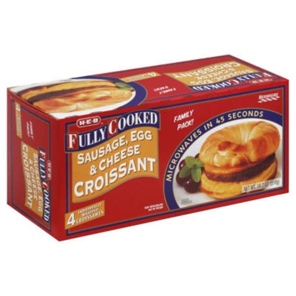 H-E-B Fully Cooked Sausage, Egg And Cheese Croissants