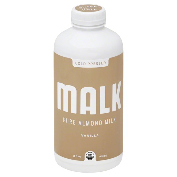 Malk Almond Milk, Vanilla, Cold Pressed, Bottle
