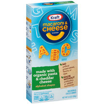 Kraft Alphabet Shapes Macaroni & Cheese Dinner Made with Organic Pasta & Cheddar Cheese