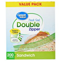 Great Value Double Zipper Food Storage Bags, Sandwich, Value Pack, 200 Count