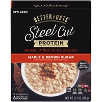 Better Oats Steel Cut with Protein Maple & Brown Sugar with Flax Instant Oatmeal