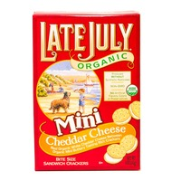 Late July Organic Bite Size Sandwich Crackers Mini Cheddar Cheese