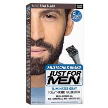 Just For Men Mustache and Beard, Brush-in Color Gel, Real Black, Shade M-55