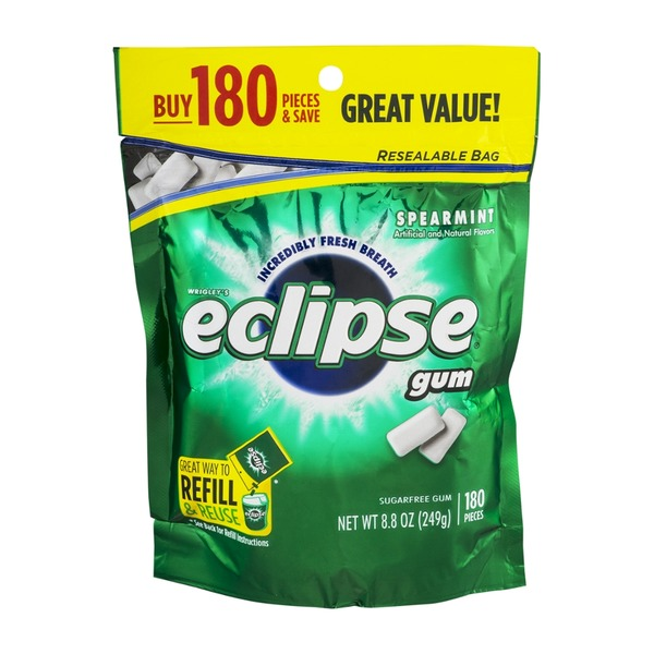 Eclipse Wrigley's Eclipse Sugar Free Gum Pieces Spearmint - 180 CT