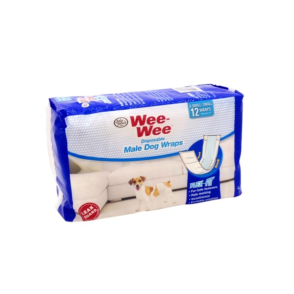 Four Paws Wee-Wee Extra-Small/Small Disposable Male Dog Wraps