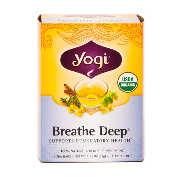Yogi Breathe Deep Caffeine Free Herbal Supplement Tea