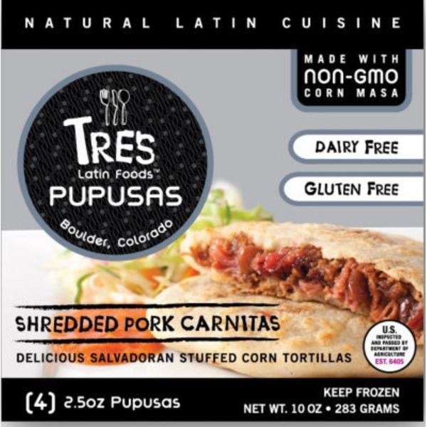 Tres Latin Foods Shredded Pork Carnitas Tortilla Pupusas