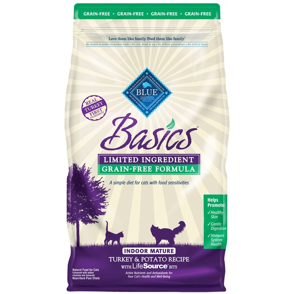 Blue Buffalo Food for Cats, Natural, Grain-Free Formula, Indoor Mature, Turkey & Potato Recipe