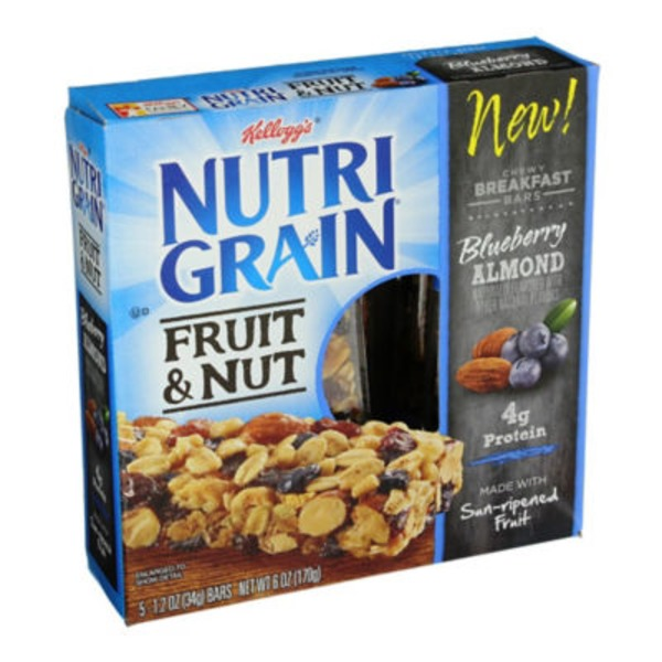 Kellogg's Nutri-Grain Fruit & Nut Chewy Blueberry Almond Breakfast Bars