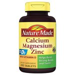 Nature Made Calcium Magnesium Zinc Dietary Supplement Tablets