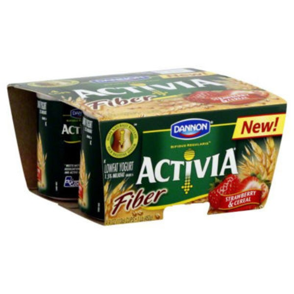 Activia Fiber Fiber Strawberry & Cereal Lowfat Probiotic Yogurt