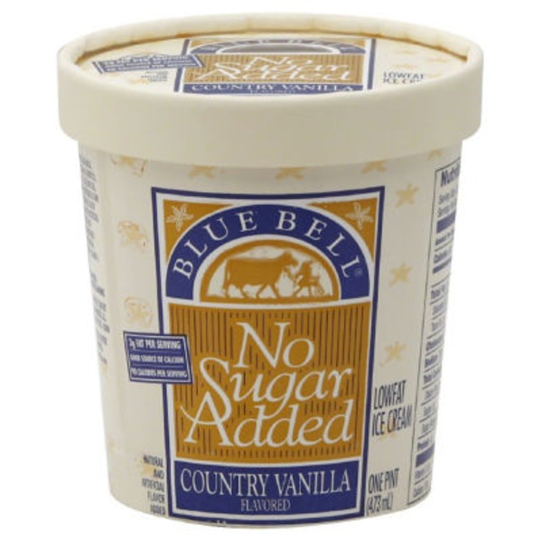 Blue Bell Lowfat No Sugar Added Country Vanilla Flavored Ice Cream