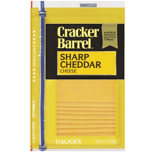 Cracker Barrel Cheese Slices, Sharp Cheddar, 11 ct
