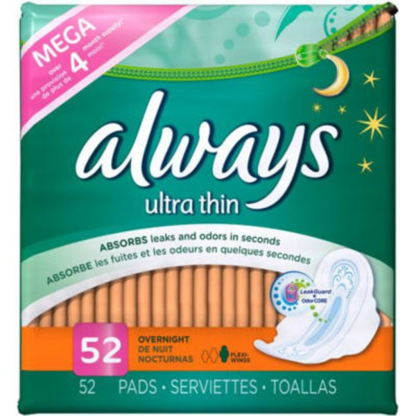 Always Thin Ultra Always Ultra Thin Size 4 Overnight Pads With Wings, Unscented, 52 count Feminine Care