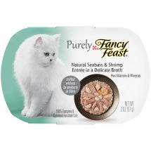 Purina Purely Fancy Feast Natural Seabass & Shrimp Entrée In A Delicate Broth Cat Food 2 oz. Tray