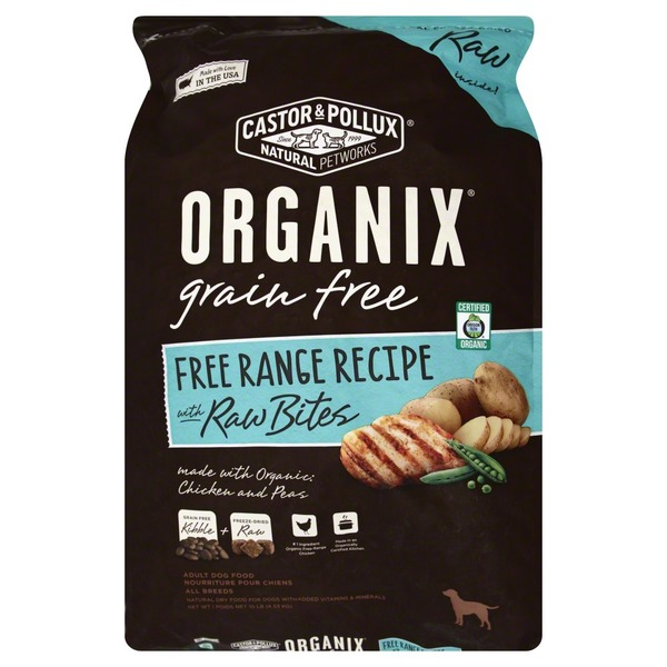 Organix Dog Food, Chicken and Peas, Range Free Recipe, with Raw Bites, Adult, Bag