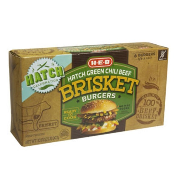 H-E-B Hatch Green Chili Beef Brisket Burgers