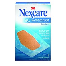 Nexcare Waterproof Knee and Elbow Bandages, Large, Superior Protection Against water, Dirt & Germs, Clear, 8 Count