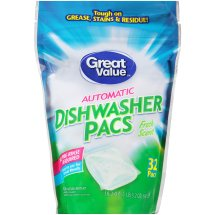 Great Value Automatic Dishwasher Pacs, Fresh Scent, 32 Count