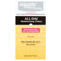 Equate Beauty Normal Skin All-Day Moisturizing Lotion with Sunscreen, 6 Oz