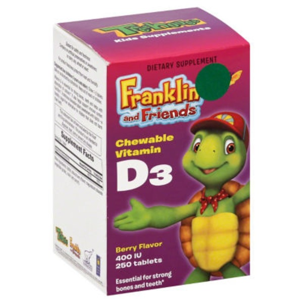 Treehouse Chewable Vitamin D3, Berry Flavor, Franklin and Friends, Tablets, Bottle