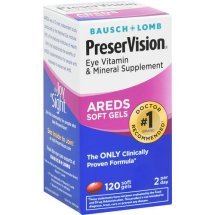 Bausch & Lomb PreserVision Eye Vitamin & Mineral Supplement, 120 Ct Soft Gels