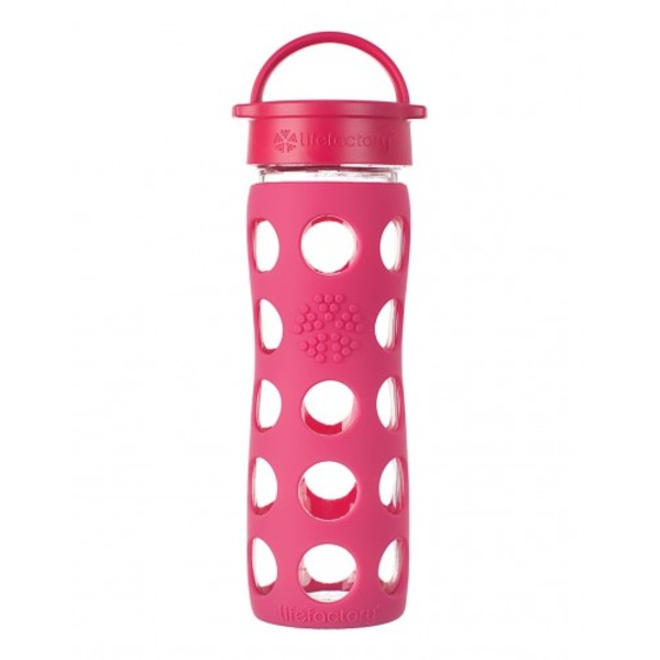 Lifefactory 16 oz Glass Bottle w/ Sleeve Raspberry