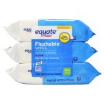 Equate Flushable Wipes, Fresh Scent, 7' X 5.25', 144 Ct, 3 Pack