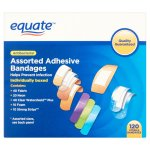 Equate Antibacterial Assorted Adhesive Bandages, 120 Ct