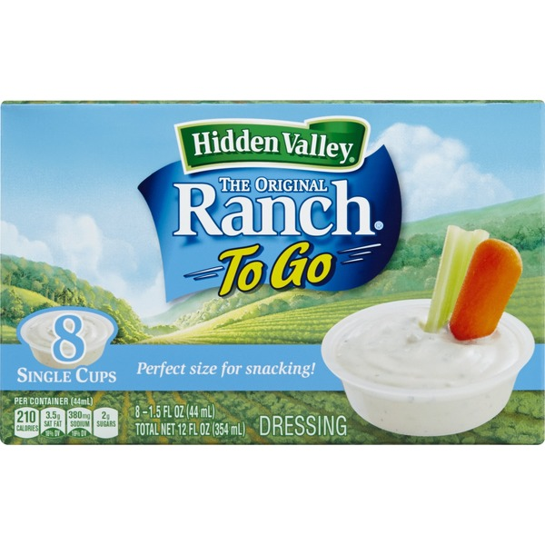 Hidden Valley Original Ranch Dressing, To Go Cups, 1.5 Ounces, 8 count