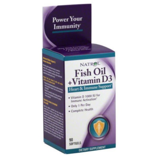 Natrol Fish Oil + Vitamin D3 Softgels