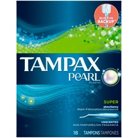 Tampax Pearl Tampax Pearl Plastic Super Absorbency, Unscented Tampons 18 Count  Feminine Care