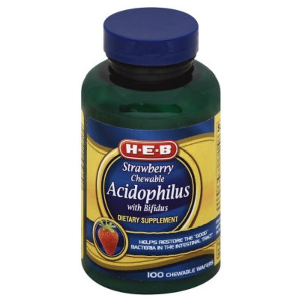H-E-B Strawberry Chewable Acidophilus With Bifidus Wafers