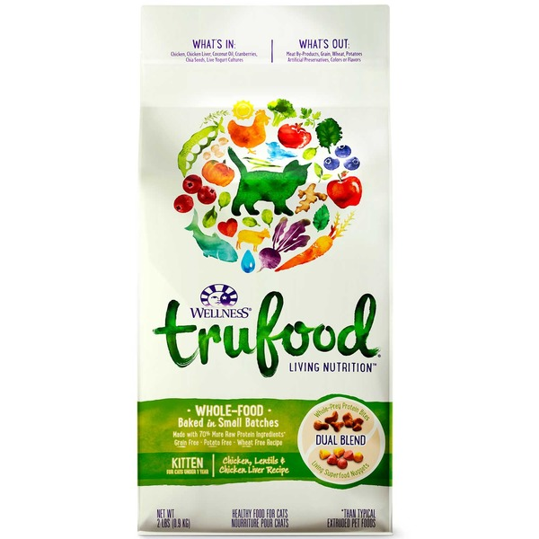 Wellness Tru Food Chicken Lentils & Chicken Liver Kitten Food 2 Lbs.