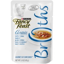 Purina Fancy Feast Broths Classic with Tuna, Shrimp & Whitefish Gourmet Cat Complement 1.4 oz. Pouch