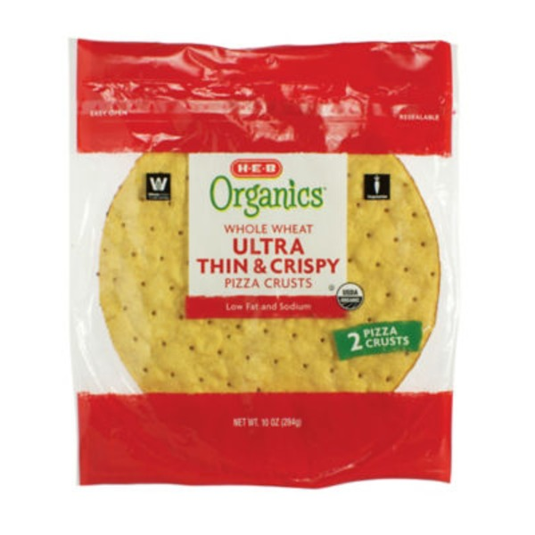 H-E-B Organics Whole Wheat Thin & Crispy Pizza Crusts