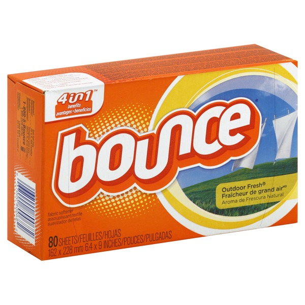 Bounce Fabric Softener Dryer Sheets Outdoor Fresh 80CT Fabric Enhancers