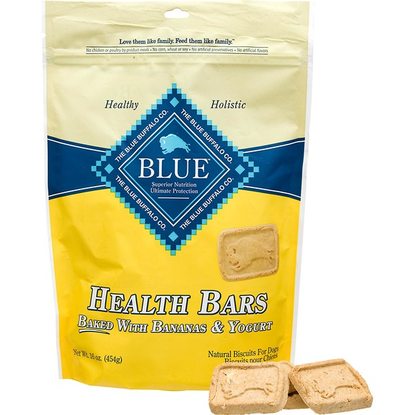 Blue Buffalo Biscuits for Dogs, Natural, Health Bars, with Bananas & Yogurt