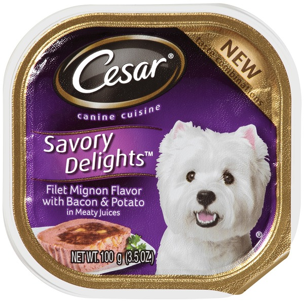 Cesar Savory Delights Filet Mignon Flavor with Bacon & Potato in Meaty Juices Wet Dog Food