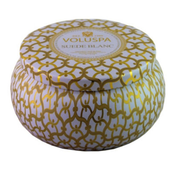 Voluspa Suede Blanc 2 Wick Candle Tin