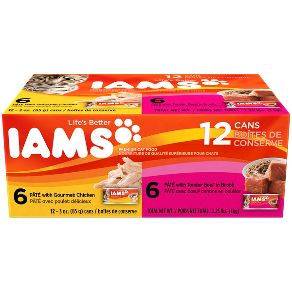 Iams 6 Pate with Gourmet Chicken/6 Tender Beef in Broth Variety Pack Cat Food