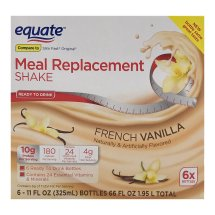 Equate french vanilla meal replacement shake, 11 Oz, 6 Ct