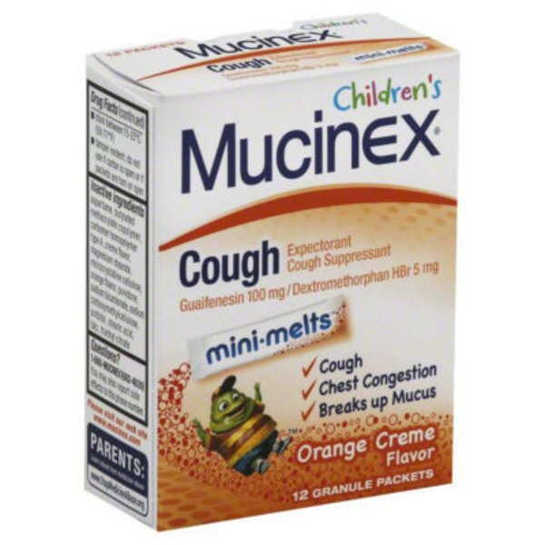 Mucinex Children's Cough Mini-Melts Orange Creme Granule Packets Expectorant/Cough Suppressant