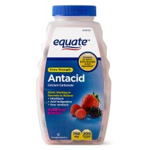 Equate Extra Strength Antacid Chewable Berry Tablets, 750 mg, 200 Ct
