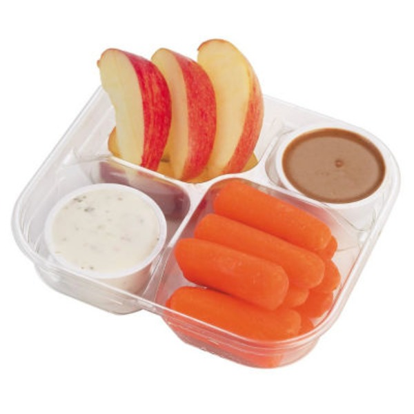 H-E-B Apple And Carrot Snack Tray With Caramel And Ranch Dips